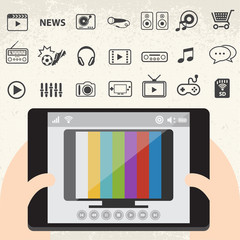 Mobile smart TV and Entertainment icons set
