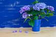 canvas print picture - Hortensien vor blauer Wand