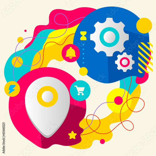 Geo location and gears on abstract colorful splashes background