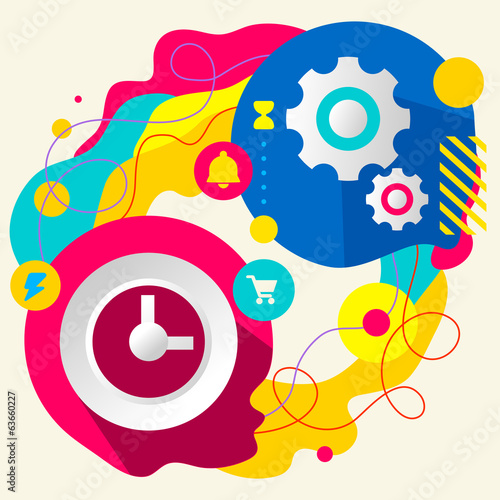 Clock and gears on abstract colorful splashes background with di