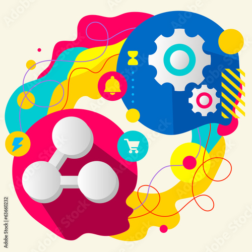 Symbol link and gears on abstract colorful splashes background w