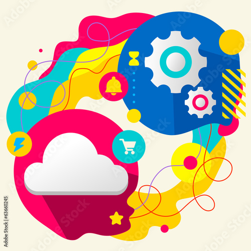 Cloud and gears on abstract colorful splashes background with di
