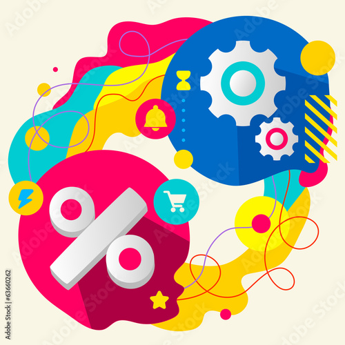 Percent and gears on abstract colorful splashes background with