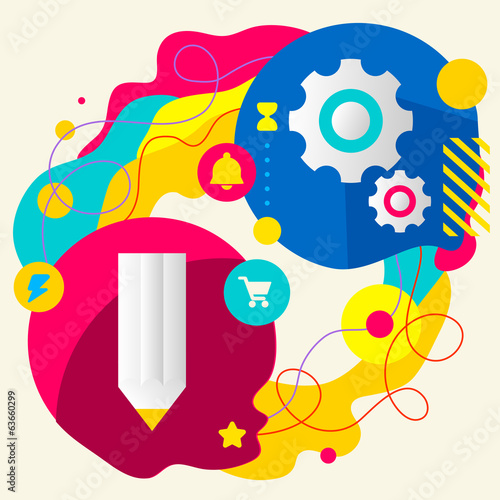 Pencil and gears on abstract colorful splashes background with d