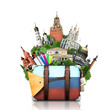 Russia, landmarks Moscow, retro suitcase, travel - 63660471