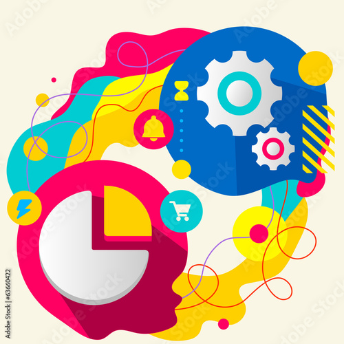 Pie chart and gears on abstract colorful splashes background wit