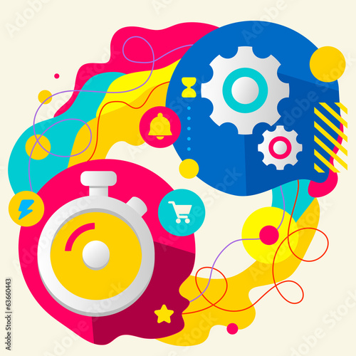 Stopwatch and gears on abstract colorful splashes background wit