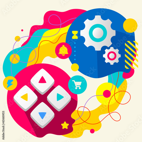 Joystick and gears on abstract colorful splashes background with