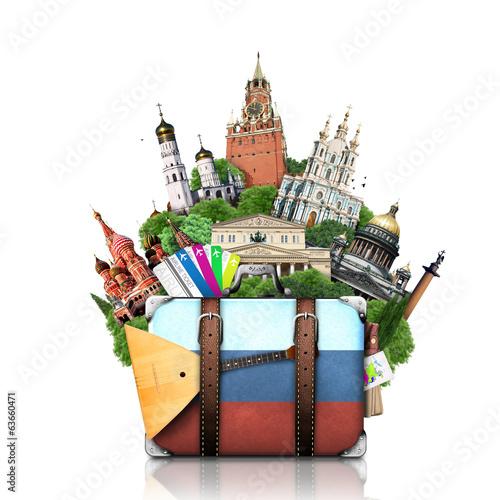 Leinwandbild Motiv Russia, landmarks Moscow, retro suitcase, travel