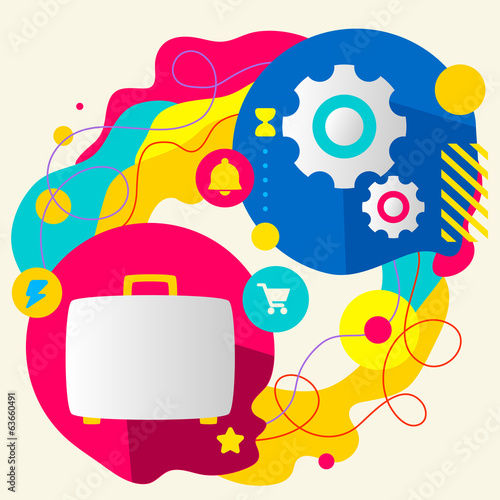 Suitcase and gears on abstract colorful splashes background with
