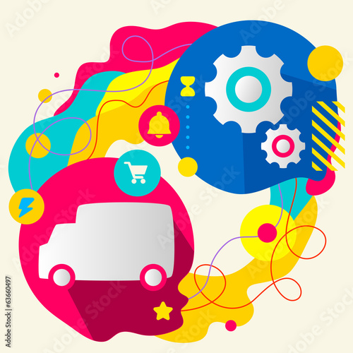 Truck and gears on abstract colorful splashes background with di