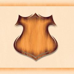 Wooden vintage grunge shield