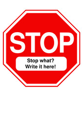 Traditional Stop sign vector with copy space