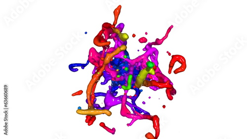 Colored paint splashes. 3D animation.