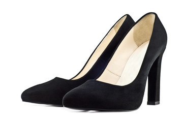 pair of black women's shoes