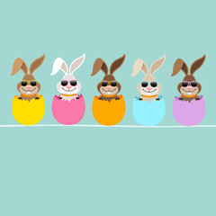 5 Cute Rabbits Sunglasses Eggshells Retro