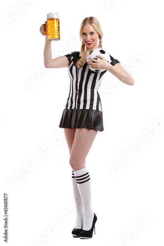 woman in soccer referee clothes with beer for your party