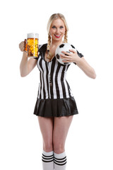 woman with soccer football clothes and a ball and beer