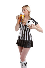 woman in soccer referee world championship clothes