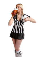 woman in soccer world championchip party clothes