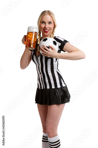 woman in soccer referee clothes with beer and a ball