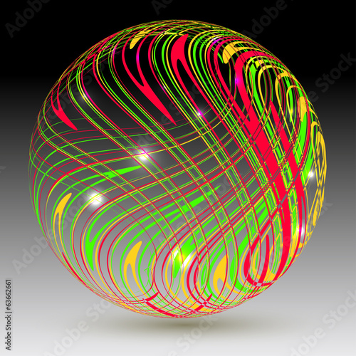 Abstract sphere on a black background.