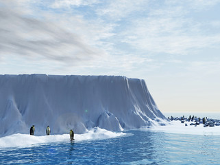 Penguins - king penguins in snow - 3d rendering