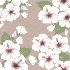 pattern with hibiscus flowers