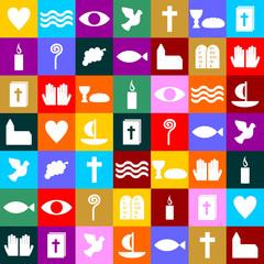 bunte christliche Symbole