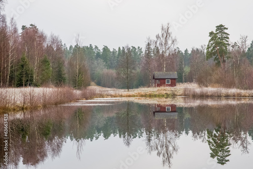 Small typical cottage by a lake