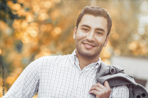 Portrait of gorgeous young smile man