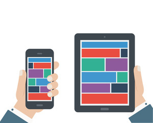 hand holding tablet and phone flat design isolated