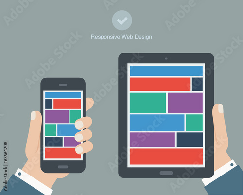 hand holding tablet and phone flat design