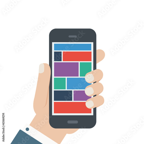 flat blank phone hold in hand isolated background