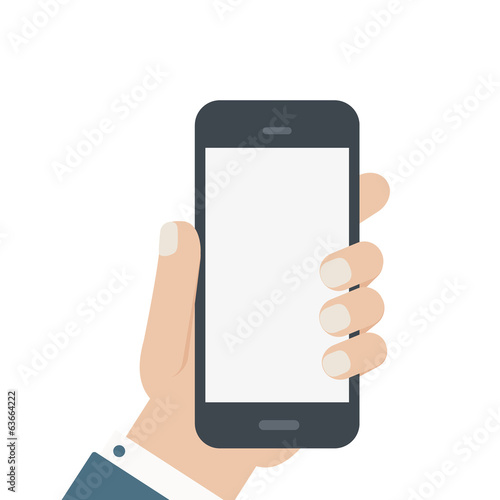 flat blank phone hold in hand isolated