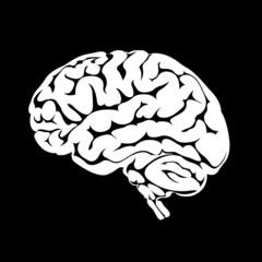 White silhouette of the human brain