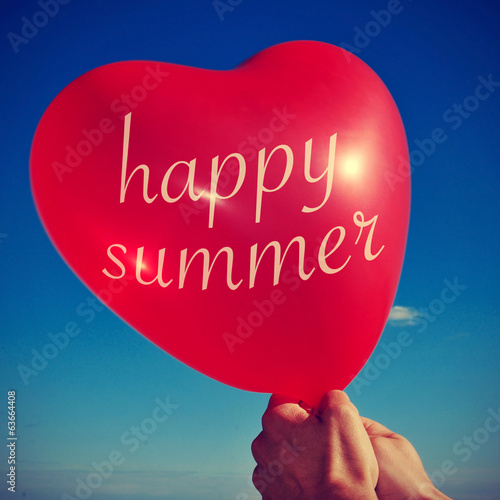 happy summer written in a heart-shaped balloon, with a retro eff