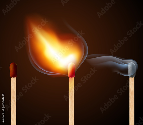 Match with fire and smoke