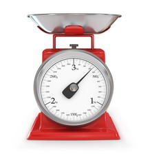 vintage red kitchen scales isolated on white background, clippin