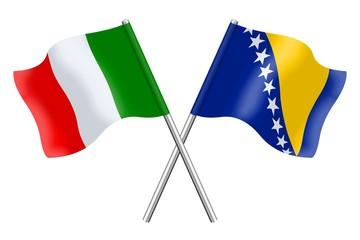 Bandiere: Italia ed Bosnia-Erzegovina