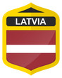 Latvia - Golden shield icon with national flag