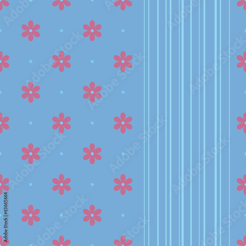 Seamless ornament with pink flowers and blue lines