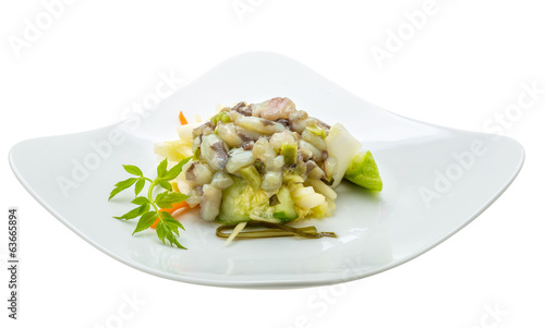 Raw octopus salad