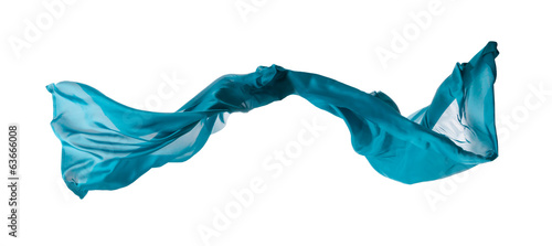 Abstract blue silk on white background