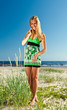 woman in green sundress