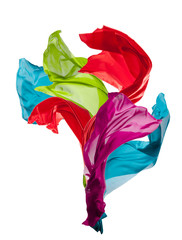 Abstract colored silk on white background