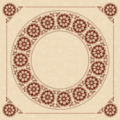 beige seamless background with dark brown floral frame - vector