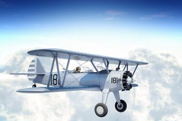 Biplane in Sky