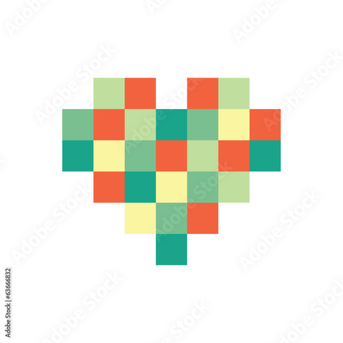 Vector Pixel Heart Illustration
