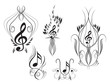 Music key notes with floral elements